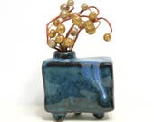 Whimsical Weed Pot Footed Vase/  Asymmetrical Box Shape with Blue Drip Glaze
