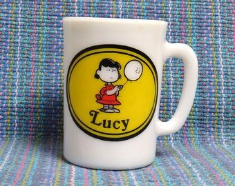 Vintage Peanuts Gang/ LUCY Milk Glass Child's Mug Cup/ Avon 1969, No Lid