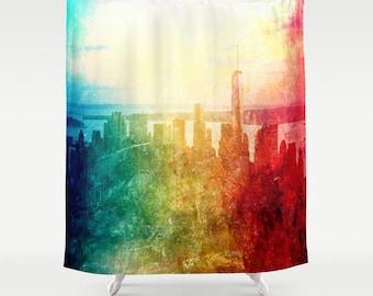 New York Shower Curtain, Manhattan , Urban, Bathroom, Modern, Home Decor, Photography, City Shower Curtain, Manhattan Decor,Abstract Skyline