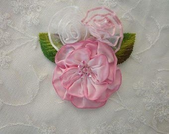 PINK Ombre Wired Ribbon Flower Applique Beaded w Sequins Glass Bead Velvet Green Leaf