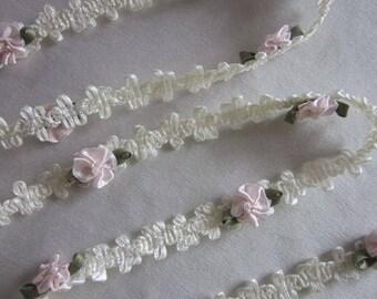 Cream Ivory Rococo Ribbon Trim w Blush Pink Rose Bud Flower Baby Scrapbook Quilt
