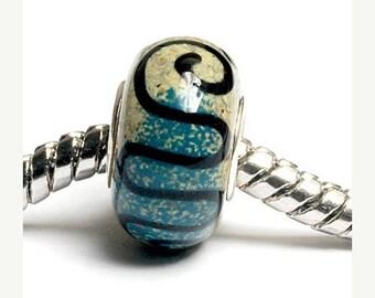 ON SALE 35% OFF Glass Lampwork Beads - Large Hole Beige & Blue w/Black Swirl Rondelle Bead - Sc10068