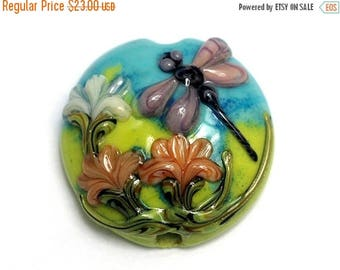 ON SALE 30% off Purple Dragonfly Orange Flora Focal Bead 11816902 - Handmade Glass Lampwork Bead
