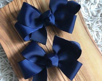 Navy Hair Bows - Hair Bows, Navy, Navy bows, Back to School, School bows, First Day of School Bows, First Day of School, Back to School Bows