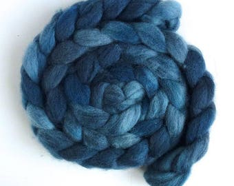 Merino Wool Roving Superfine - Hand Dyed Spinning or Felting Fiber, Iron Blue