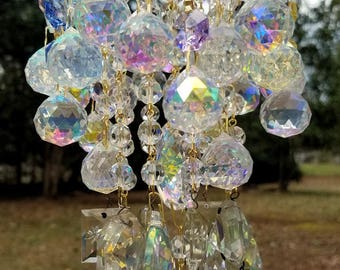 Jeweled Pastels Antique Crystal Wind Chime, Vintage Crystal Wind Chime, Crystal Art, Garden Art, Garden Decor, Home Decor, Sun Catcher