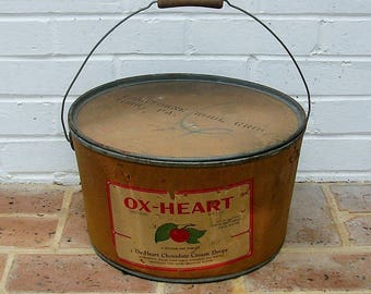 Antique Vintage Candy Container Box Antique Vintage Oswego Candy Works Chocolate Candy Box Ox Heart Candy Cream Drops New York