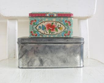 PAIR Vintage Metal Biscuit Tins, Metal Box, Aqua Tin, Vintage Candy Tin, Vintage Storage, Vintage Biscuit Tin, Floral Tin, Silver Box, Tin