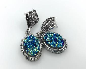 Antique style Druzy Earrings, Faux Druzy Earrings, Druzy Earrings, Art Deco Earrings, Silver Druzy