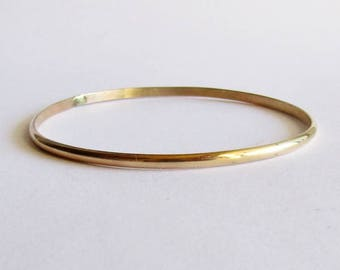 14 Karat Gold Bangle Bracelet - 14 K Gold Bracelet - Solid Gold Jewelry - 50th Anniversary - 4 mm Gold Bangle Bracelet - Birthday Gift