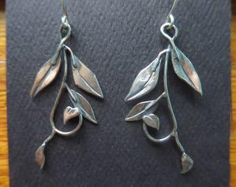 Brutalist Sterling Silver Tendril Earrings