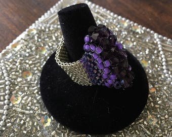 Handwoven Custom Made Silver and Purple Crystal Ring, Silver and Purple Ring Band, Custom Handwoven Rings, Custom Jewelry, Irish