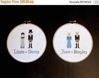 SALE Pride & Prejudice Jane Austen Cross Stitch Finished Hoop Set Wall Hanging Art Decor
