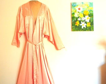 Oriental style, vintage 80s, deep peach , shiny polyester, wrapped, maxi robe with exotic flowers embroidery. Made by Au courant . Size M