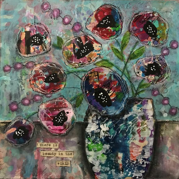 Original Vase of Flowers Mixed Media Painting on Wooden Panel Colorful Vibrant Unique Ready to Hang