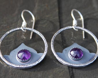 amethyst and lotus flower sterling silver stamped hoop earrings