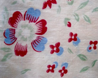 Vintage Fabric, Cotton Fabric, French Florals, 1940s Fabric, Vintage 1940s Fabric, Floral Fabric, French Vintage, Fabric And Notions, Fabric