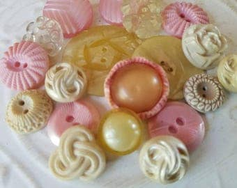 Vintage Buttons - Cottage chic fancy pierced mix of flowers transparent, pink and off white lot of 19 old and sweet( July400 17)