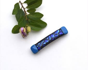 Fused dichroic glass hair barrette, black back, blue and black
