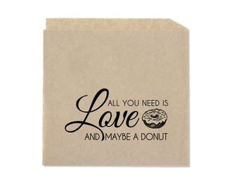 Wedding Favor Donut Bags - Donut Cookie Favor Bags - All You Need Is Love -  Double Opening Kraft Favor Bags