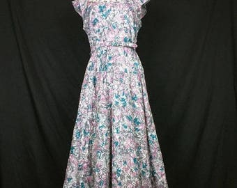 ON SALE Vintage Turquoise Pink Gray White Novelty Print Dress Misses M L Melwine of Miami 50s 60s