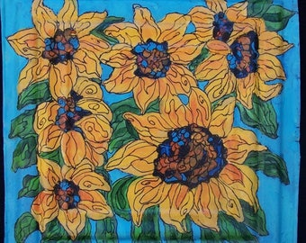 Original Bold Colored Sunflowers Painting on a Textured 100 year old tin tile/ceiling tile/antique/reclaimed/wild flowers/Linda Kelly/bright