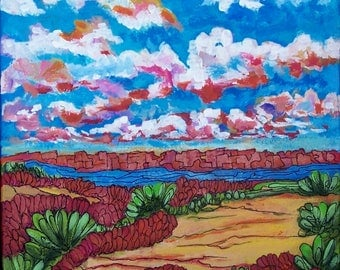 """Original Desert Bliss Painting, rich bright colors,in multi colors and that sky? 12""""x12"""" framed/New Mexico/Arizona/sedona/red rocks/"""