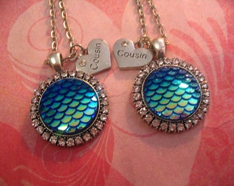 2 Cousins Mermaid Cabochon Necklace Jewelry Gift