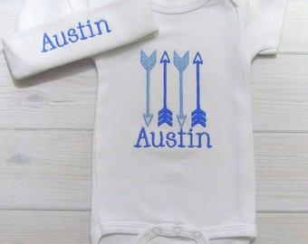 Baby Boy Coming Home Outfit Baby Clothes Embroidered Arrow Monogram Bodysuit Or Gown Personalized Newborn Monogrammed  Baby Shower Gift