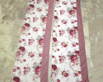 Waverly Garden Room Norfolk Rose Floral w/ Red Gingham Valances set of 2