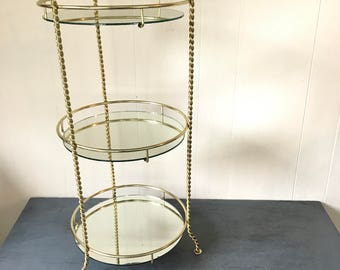 vintage end table - mid century round brass glass side table - mini bar - Hollywood Regency