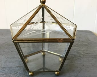 vintage brass box - etched glass jewelry box - small hexagon terrarium - engagement wedding ring holder