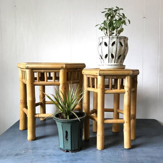 Bamboo Plant On Table: Vintage Bamboo Plant Stand Octagon Rattan Side End Table