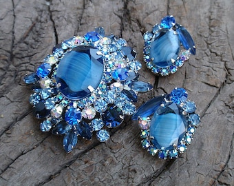Delizza & Elster Jewelry Set Juliana Vintage Blue Givre Stones and AB Rhinestones Brooch/Pendant and Earrings