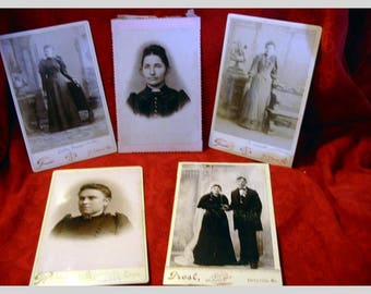 Antique Cabinet Photographs Lot Of 5