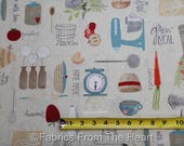Freshly Picked Eat Local Farm to Table on Tan BY YARDS Wilmington Cotton Fabric
