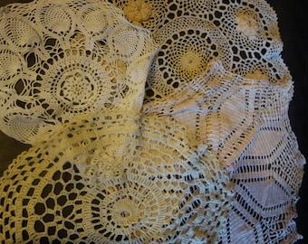 4  vintage lace large doilies