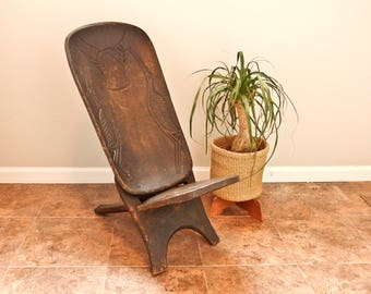 Wood Hand Carved African Chair, 2 Piece African Chair, Folding African Chair