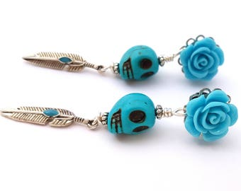 6g 4mm Dangle Plugs Blue Sky for Stretched Ears-Piercing-Surgical Steel- Bohemian Gauges-316L Fashion Plugs-Girly Hippie Plugs- Boho Plugs