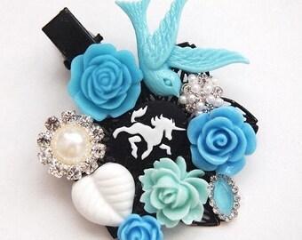 Blue Unicorn Cluster Clip-Floral Hair Clip-Fantasy Fashion-Kawaii Hair-Chunky Hair Clip-Fashion Accessory-Cameo Hair Clip-EGL Sweet Lolita