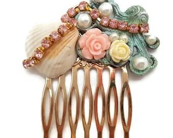 Octopus Hair Comb-Antique Hair Comb-Mermaid Wedding-Beach Bridal-Bridesmaid Gift-Prom Hair Accessory-Pearl Hair Clip-Golden Comb-Pretty Hair