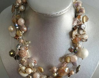 Ten Strand Floating Necklace in Neutral
