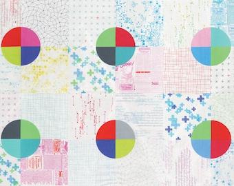 "MODA Modern BG Background Colorbox Geometric Cheater Panel Multi White 1640 11 - 23"" panel  Yardage by Brigitte Heitland of Zen Chic"