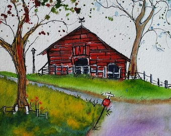 Weatherford Road Barn, ORIGINAL 5 x 7, watercolor and ink