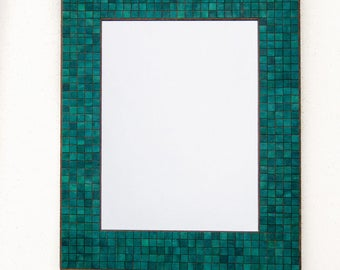 Wall Mirror Handmade Paper Rectangle Turquoise Mosaic Blue Tiles Green Colorful Wood Frame Modern Decor Bathroom Mirror 12 x16 Teal Frame