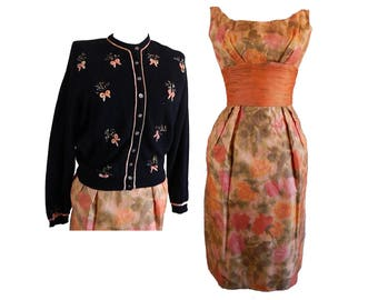 Vintage 50s floral chiffon wiggle dress and novelty cardigan sweater s