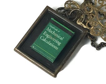 Mechanical Engineering Text Hidden Book Necklace Tiny Readable Book