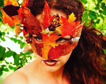 Autumn fall woodland faery fae masquerade mask renn faire halloween costume accessory