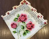 Vintage Crenellated Edge Rose Handkerchief /Hankie
