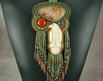 Necklace, Beaded, Bead embroidered, Hand Carved Antler Eagle, Fossilized coral, Carnelian, copper feathers,  Embroidered Necklace